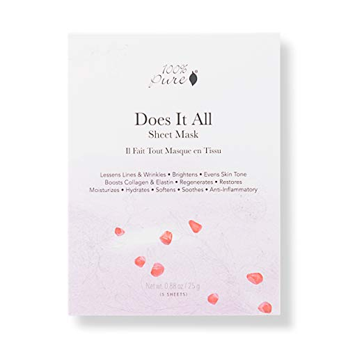 (100% PURE Sheet Mask: Does It All (5 PCS), Full Face Sheet Mask, Made with Retinol, Hyaluronic Acid, Brightens Skin, Restores Damaged Skin, Sustainably Made - 5 PACK)