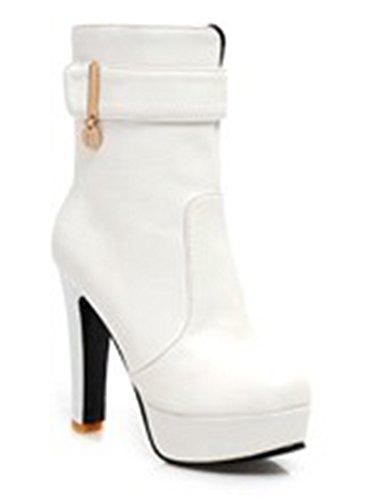 Aisun Kvinnor Mode Bältesspänne Boots Vita