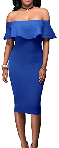 Dresses Off Midi Ruffled Shoulder Jewelry Pencil Bodycon Cromoncent Womens Slim Blue g0xnZw8B