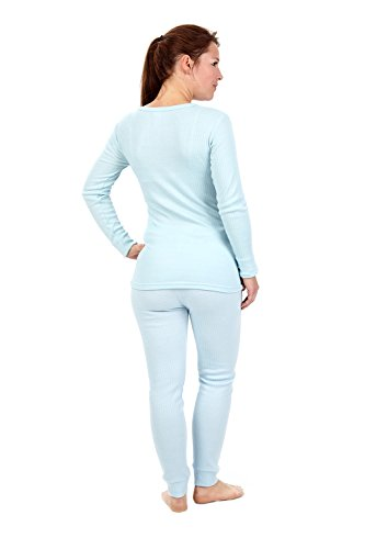 Mujer Camisa Con Forro Polar Interior Térmica manga larga camiseta azul claro