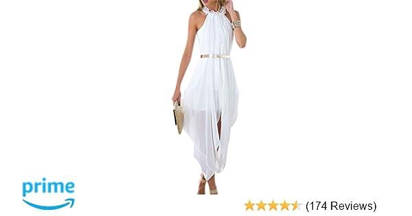 360c84a78616a Women s Sheer Chiffon Folds Hi Low Loose Dress Delicate Gold Belt at Amazon  Women s Clothing store