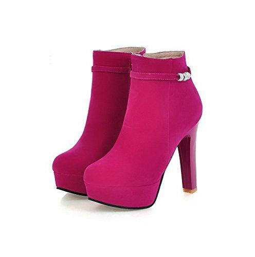 AllhqFashion Damen Reißverschluss Rund Zehe Hoher Absatz Rein Stiefel, Pink, 38
