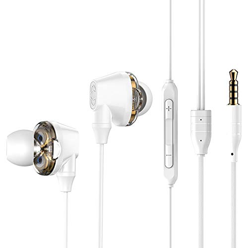 3.5mm Wired Earphone with Mic Double Dynamic in-Ear Earbuds Earphones with Microphone for Samsung iPhone 6 6s Smartphone,White