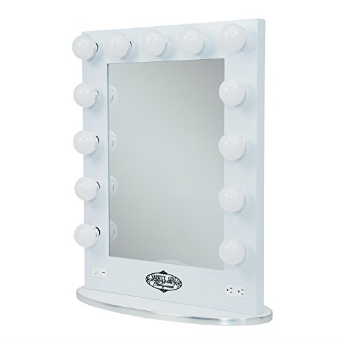 White Vanity Girl Broadway Lighted Vanity Mirror with 2 Outlets and Dimmer Switch - 13 Makeup ...
