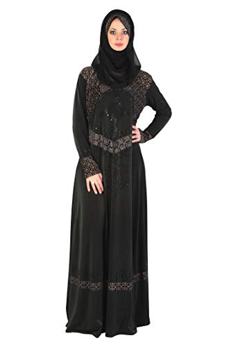 SOFIAS Women's Cystal Lycra Fabric Burqa Set (LY-006, Black, XX-Large)