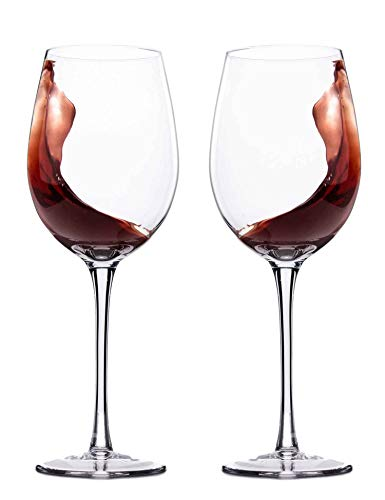 Hand Blown Italian Style Crystal Red or White Wine Glasses - JBHome Lead-Free Premium Crystal Clear Glass - Set of 2 - 18 Ounce - Safer Packaging for Any Occasion