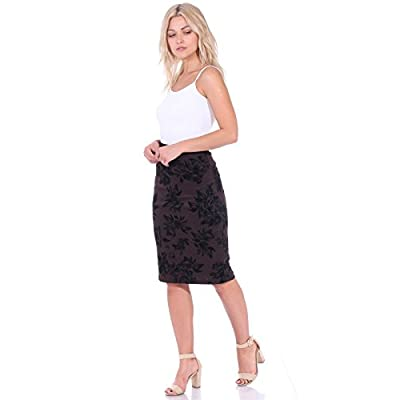 Popana Women's Stretch Pencil Skirt Knee Length High Waist for Work Made in USA at Women's Clothing store