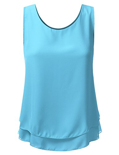 Doublju Loose Fit Tank Top Double Layered Chiffon Blouse Tank Tops For Women With Plus size (Made In USA) TURQUOISE 2XL (Layered Chiffon Blouse)