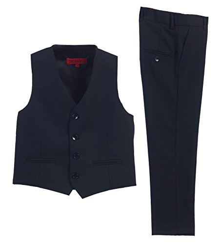 2 Piece Kids Boys Navy Vest And Pants Formal Set, (Boys Navy Dress Pants)