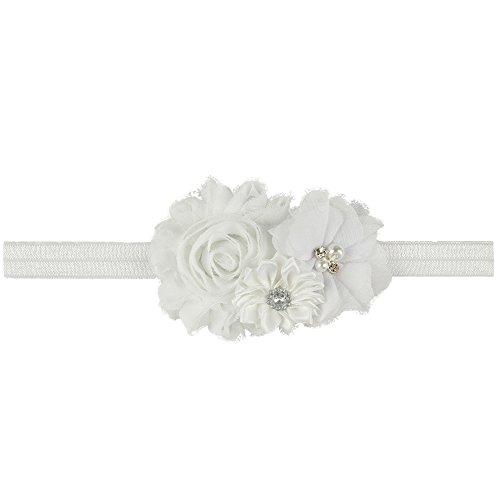 (Ld Dress Lovely Baby Girl Headbands Rhinestone Flower Princess (28) (Color White), 13 INCHES)