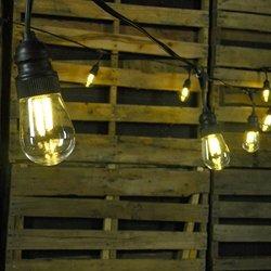 Commercial Led Filament Edison String Lights, 10 Amber Bulbs, Black