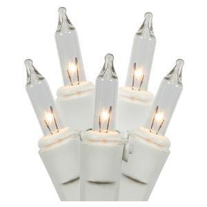 Vickerman W5W0501 50 Light Mini Light Set Clear Lights on White Wire