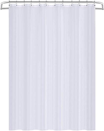 Utopia Home Fabric Shower Curtain Liner White 72 by 72 Inches - Water Repellent, Machine Washable - Hotel Quality