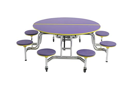 AmTab - MSR608 - Mobile Stool Table with 8 Stools, Round, 60