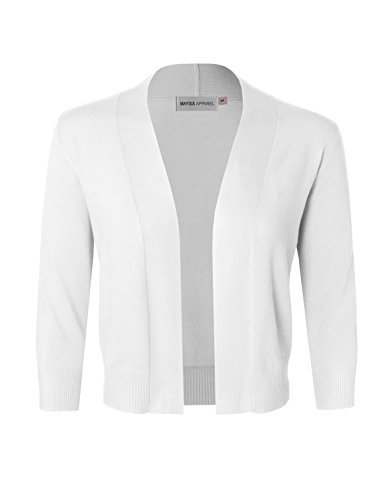 MAYSIX APPAREL Women's Solid Soft Stretch 3/4 Sleeve Layer Bolero Cardigan WHITE S