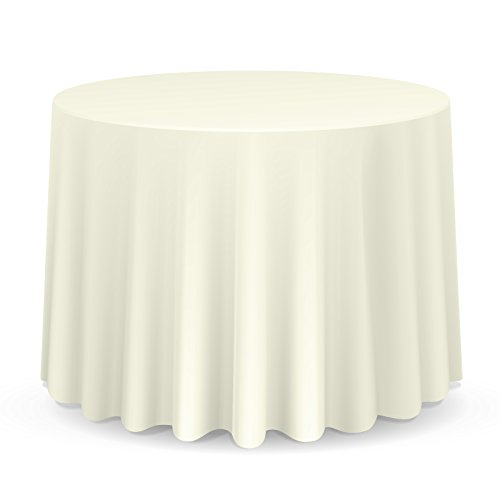 Lann's Linens - 10 Pack of 132'' Round Ivory Polyester Tablecloth Covers for Weddings, Banquets, or Restaurants by Lanns Linens