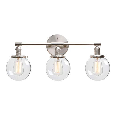 Phansthy 3 Light Wall Light Brushed Nickel Bathroom Wall Mount Vanity Light Fixture Globe Sconce with 5.6 Inches Round Clear Glass Shade, Brushed Nickel