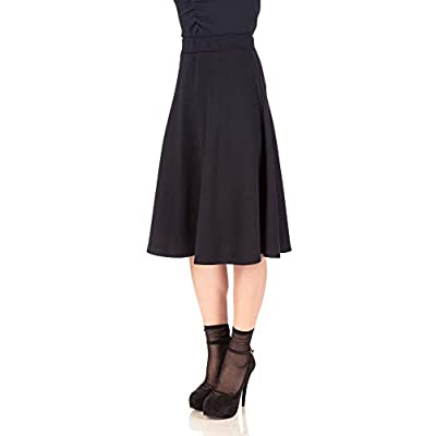 Dani's Choice Everyday High Waist A-line Flared Skater Midi Skirt at Women's Clothing store