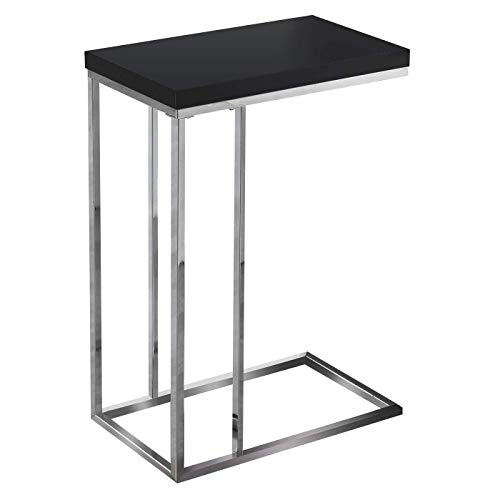 Monarch Specialties I 3007, Accent Table, Chrome Metal, Glossy Black