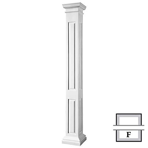 Panel Raised Column (Endura-Stone Square Non-Tapered Raised Panel Column (FRP), Smooth Paint-Grade, Tuscan Capital & Base, 8