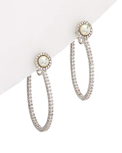 Carolee Pave Hoop with Pearl Clip-On Earrings ()