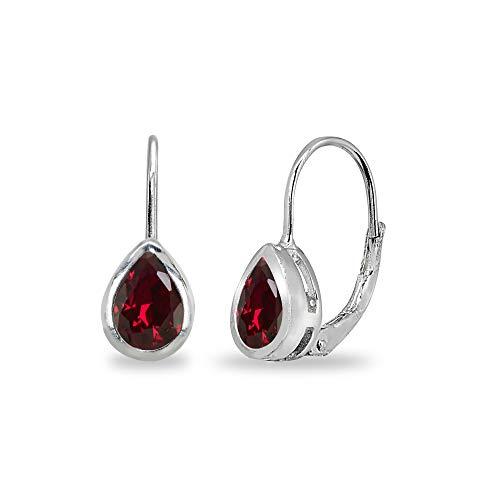 Sterling Silver Created Ruby 7x5mm Teardrop Bezel-Set Dainty Leverback Earrings for Women Teen Girls