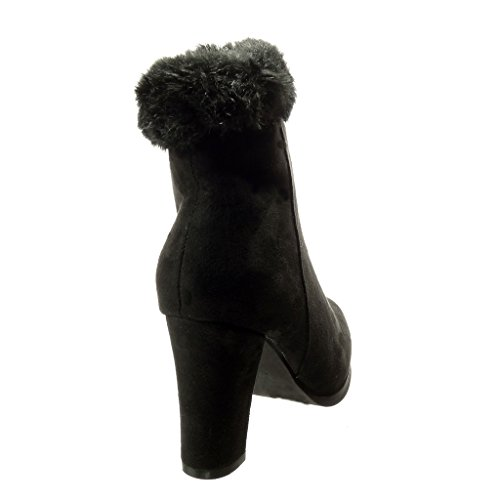 Angkorly - Zapatillas de Moda Botines la noche mujer piel Talón Tacón ancho alto 8 CM - Negro