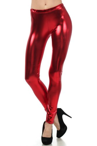 Sakkas MILiquid111 Footless Liquid Wet Look Shiny Metallic Stretch Leggings - Red / Small