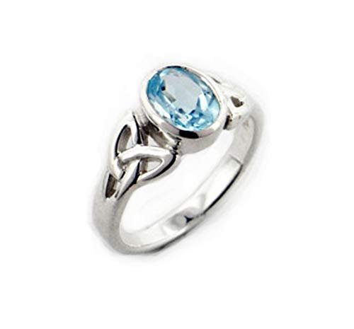 (Sterling Silver Celtic Knot and Genuine Blue Topaz Ring Size 11(Sizes 4,5,6,7,8,9,10,11))