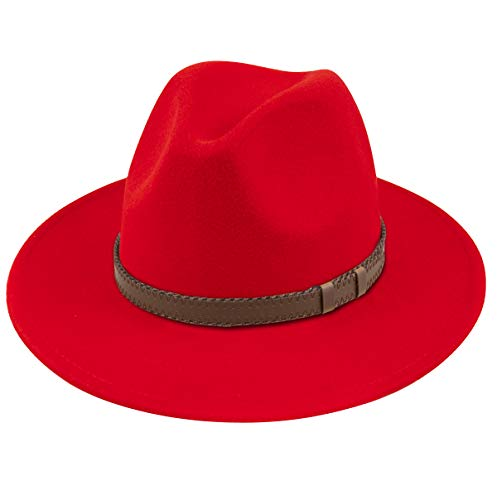 Lanzom Women Wide Brim Warm Wool Fedora Hat Retro Style Belt Panama Hat (X-Red, One Size)