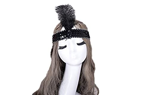 Eliffete Indian Roaring 20s Black Feather Headbands Accessory Cocktail Headpiece