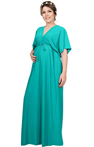 KOH KOH Womens Long Maternity Kimono Sleeve V-Neck Summer Flowy Gown Maxi Dress
