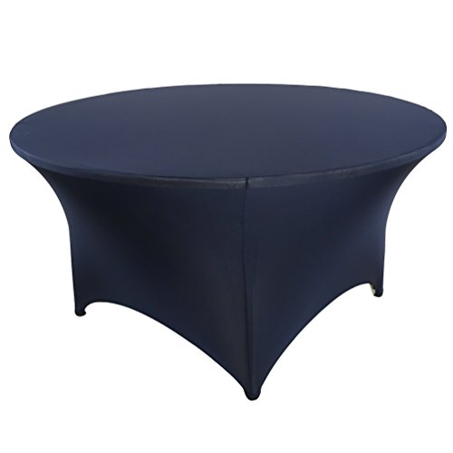 banquetbay 5FT(60inch) 6FT(72inch) poly spandex stretch round floding tablecloth table covers (6FT, navy blue)