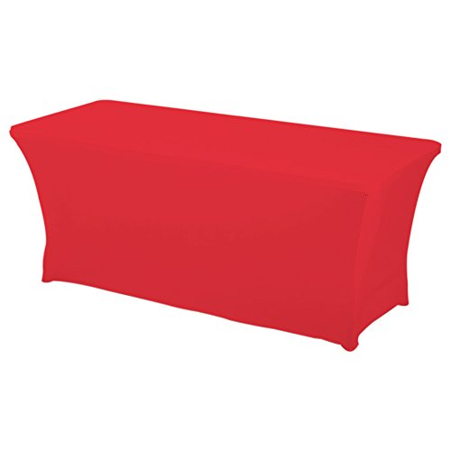 (HAORUI Rectangular Spandex Table Cover (6 ft. Red))