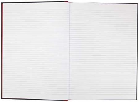 100080474 Pack of 5 Black n Red A4 Casebound Hardback Notebook Narrow Ruled