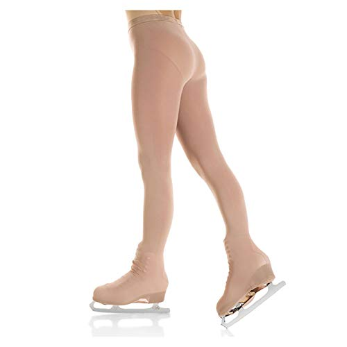 (DANCEYOU Ice Figure Skating Tights Over The Boot for Girls, 120 Denier High Stretch, Tan, Size S)