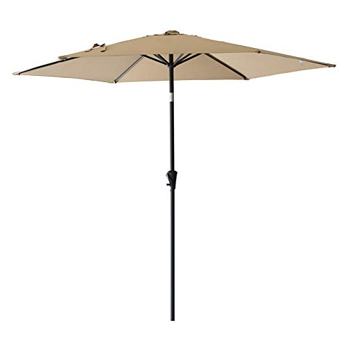 9 Base Market Umbrella (FLAME&SHADE 9' Outdoor Patio Umbrella Market Style for Garden Outside Table Deck or Balcony with Tilt, Beige)