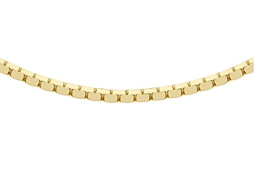 "Jewellery World Bague en or jaune 9carats 40Boîte miroir Chaîne 46cm/18"""
