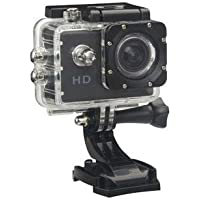 Mobifox 12MP 1080P Sports Plastics Fibre Waterproof Camera with 2 inch LCD Micro SD Card Slot Multi Language Action Video and Up to 30 m Wide Angle (Black)