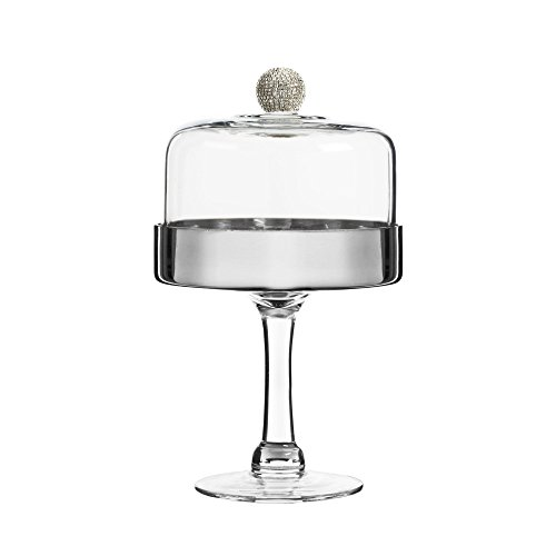 Fitz and Floyd 212724-11PD Medley Silver Glass Pedestal Plate with Dome (Pedestal Cupcake Stand)