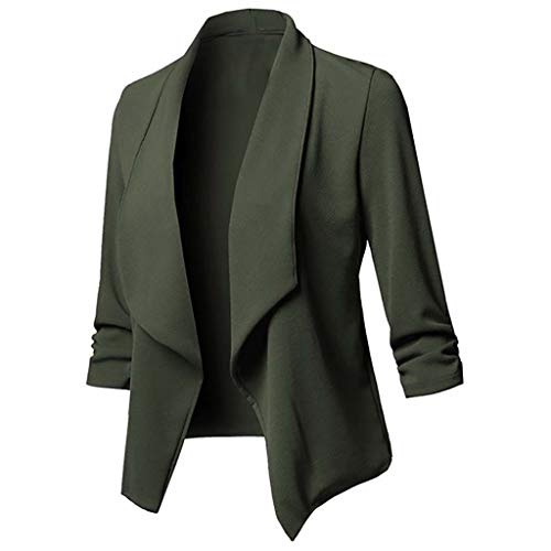 Women's 3/4 Stretchy Ruched Sleeve Open Front Casual Work Office Blazer Jacket Cardigan