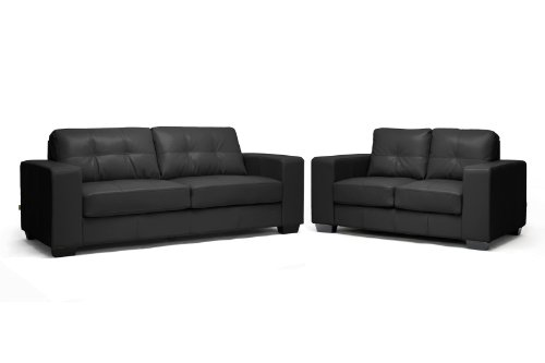 Baxton Studio Whitney Modern Sofa Set, Black Leather