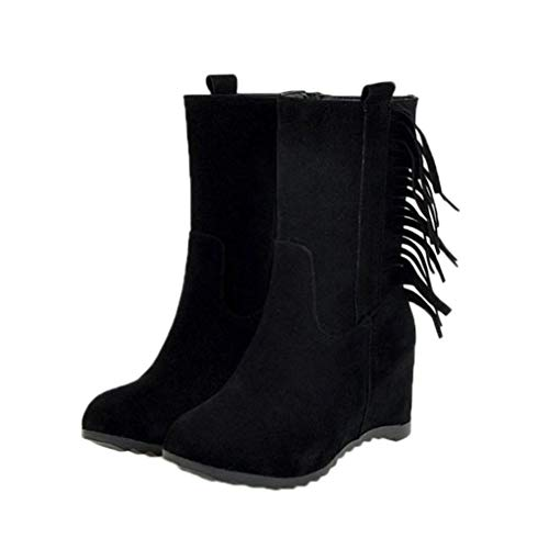 JOYBI Women Round Toe Mid Calf Boots Fashion Zip Comfortable Non Slip Height Increasing Tassels Winter Boots