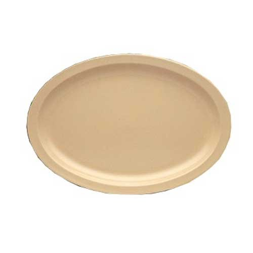 Yanco NS-513T Nessico Oval Platter with Narrow Rim, 13'' Length, 8.5'' Width, Melamine, Tan Color, Pack of 12