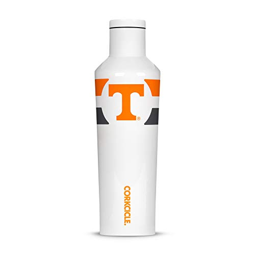 (Corkcicle  Canteen - 16oz NCAA Triple Insulated Stainless Steel Water Bottle, University of Tennessee Volunteers, Gym Stripe)
