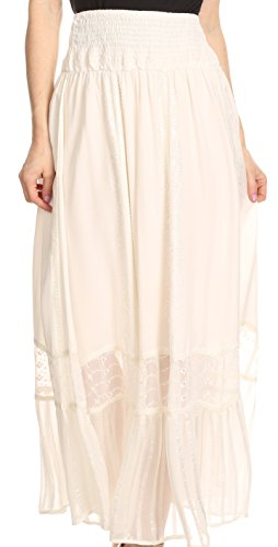 Sakkas 4678 - Shamim Boho Maxi Long Skirt with Sheer Textured Panels W/ Smocked Waistband - Ivory - (Embroidered Eyelet Skirt)