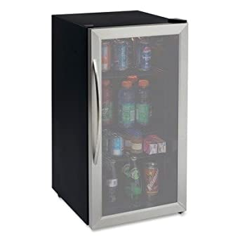 avanti 31 cubic foot beverage cooler sylish black cabinet with stainess steel framed double