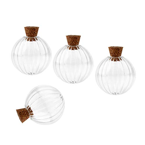 Dia Fancy Necklace - CUTICATE 6Pcs Small Fancy Empty Glass Bottles Wishing with Cork Necklace Pendant Pop - Clear, 30mm