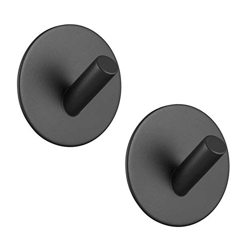 Hgery Adhesive Hooks, Self Adhesive Black Wall Mount Hook for Key Robe Coat Towel, Super Strong Heavy Duty Stainless Steel Hooks, No Drill No Screw, Waterproof, for Kitchen Bathroom Toilet, 2 Pack