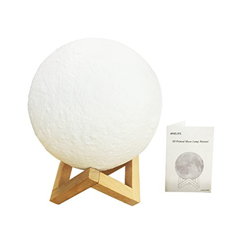 """AMZLIFE 7.1"""" Large Moon Light, 3D Printing Moon Lamp with Touch Sensor Switch and Dimmable Brightness 2 Colors LED, USB Rechargeable Decorative Lunar Night Light for Bedroom, Living Room"""